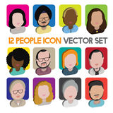 Diversity Interracial Community People Flat Design Icons Concept Stock Photography