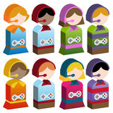 Diversity Kids - Video Games. Set of 3d diverse kids playing video games online with headsets Royalty Free Stock Images