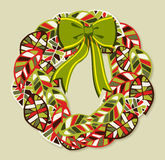 Diversity leaves Christmas wreath. Diversity leaves Christmas season wreath. EPS10 file with a drop shadow in multiply mode at 75% level. This shadow is in the stock illustration