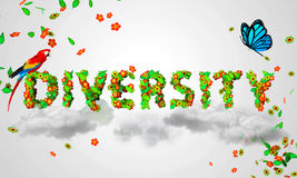 Diversity leaves particles 3D. Digital art Stock Photos