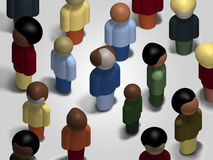 Diversity Mingling. Orthographic view of a multicultural, diverse crowd mingling Stock Photography