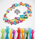 Diversity mobile application hands Stock Images