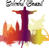 Diversity monuments of Brazil, famous skyline colors transparency. EPS10 vector organized in layers for easy editing. Stock Photos