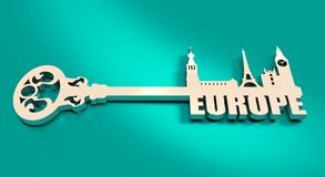 Diversity monuments of Europe, famous landmark as part of the key. Stock Image