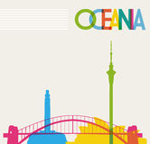 Diversity monuments of Oceania, famous landmarks c stock illustration