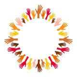 Diversity multicolored hands from empty center round frame. Royalty Free Stock Photography