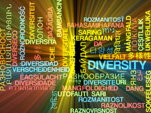 Diversity multilanguage wordcloud background concept glowing Stock Photo