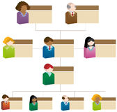Diversity Organizational Chart. A 3D organizational chart based upon a diversity of its employees Royalty Free Stock Photos