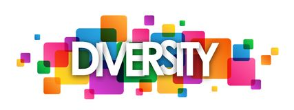 DIVERSITY colorful overlapping squares banner. DIVERSITY overlapping letters banner on colorful semi-transparent squares. Vector royalty free illustration