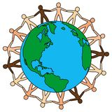 People around the world.Save earth vector illustartion. Diversity people around the world protecting earth vector stock image Stock Photography