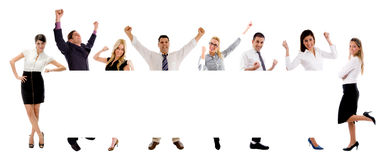 People with banner. On white background Stock Photos