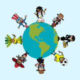 Diversity people cartoons over world map Royalty Free Stock Photos