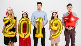 Diversity people celabrate new year 2019 royalty free stock photography