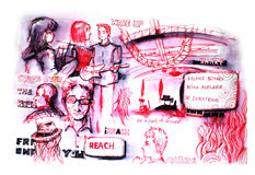 Diversity of people in church drawing royalty free illustration