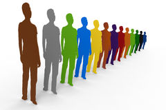 Diversity people concept. 3D rendered illustration of multiple people cutouts representing the diversity concept. The composition is isolated on a white Stock Photos