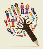 Diversity people concept pencil tree Royalty Free Stock Photography