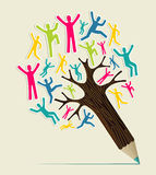 Diversity people concept pencil tree Royalty Free Stock Photos
