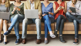 Diversity People Connection Digital Devices Browsing Concept.  Stock Photo