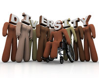 Diversity - People of Different Colors. A group of people with different races and abilities, and letters on their heads vector illustration