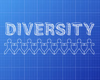 Diversity People Graph. Diversity hand drawn text and cut out paper people chain stock illustration