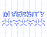 Diversity People On Graph. Diversity hand drawn text and cut out paper people chain royalty free illustration