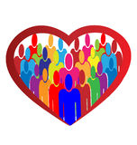 Diversity people heart logo Royalty Free Stock Photography