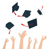 Diversity of People Holding Certificates and Throwing Graduation Caps vector illustration
