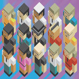 Diversity people isometric. Illustration of the concept of diversity people of the earth, or diversity global teamwork, in isometric old video game style. Every Royalty Free Stock Image