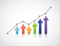 Diversity people successful graph illustration Stock Photo