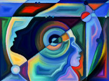 Diversity of Perception. Thinking Divided series. Interplay of human profiles and stained glass lines on the subject of mind, science, technology and education Stock Image