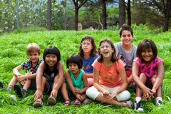Diversity portrait of kids outdoors. Royalty Free Stock Photo
