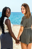 Diversity portrait of two teen girls holding hands. Close up portrait of two teen girls holding hands.African teen standing on beach with caucasian friend stock images