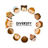 Diversity of races. Over white  background vector illustration Royalty Free Stock Photography