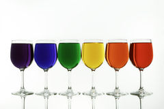 The Diversity Rainbow Caputred in Wine Glasses Stock Images