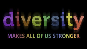 Diversity in rainbow colors. Rendering of a sign Diversity Makes All of Us Stronger in rainbow colors Stock Images