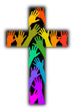 Diversity Rainbow Cross. Illustration of a cross with multicolored hands upstretched in worship...symbolic of Christian diversity Royalty Free Stock Image
