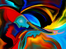 Diversity of Sacred Hues. Angels Choice series. Interplay of human profiles and colorful shapes on the subject of inner world, sacred reality, emotion, human vector illustration