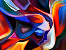 Diversity of Sacred Hues. Colors of Fate series. Interplay of human profiles and colorful shapes on the subject of inner world, sacred reality, emotion, human Royalty Free Stock Photo
