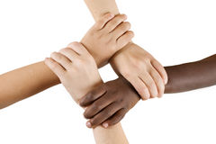 Diversity Series. Four children linking hands Royalty Free Stock Photography