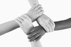 Diversity Series. Four children linking hands Stock Photo