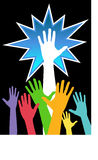 Diversity Show of Hands 2. A colorful groups of hands to signify diversity or teamwork Stock Image