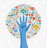 Diversity social media hand tree. Social media network concept hand tree icons set. Vector illustration layered for easy manipulation and custom coloring Royalty Free Stock Image