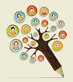 Diversity social people pencil tree. Diversity social media networks sticker people concept pencil tree. Vector illustration layered for easy manipulation and royalty free illustration