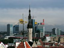 Diversity of Tallinn. View of Tallinn: medieval and modern buildings stock photos