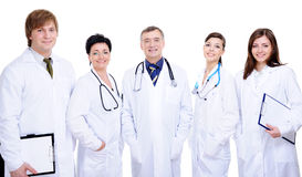 Diversity team of five happy successful doctor stock photo