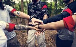 Diversity team orienteering outdoor activity royalty free stock photo