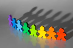 Diversity and Teamwork. Business concepts illustrated with colorful wooden people - diversity and teamwork Stock Photo