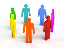 Diversity, teamwork, social network concept. Colorful human figures in circle on white Stock Image