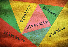 Diversity and tolerance. Concept about people diversity and tolerance on multicolor background stock illustration