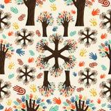 Diversity tree hands pattern Stock Image